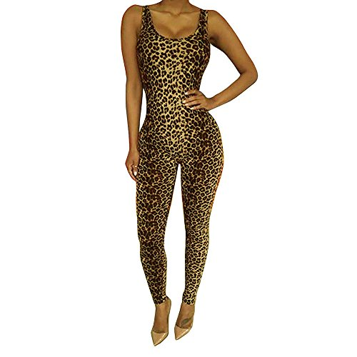 Women's Sleeveless Leopard Prints O-Neck Backless Casual Jumpsuits Pants (L)]()