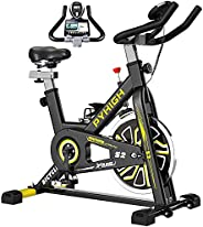 PYHIGH Indoor Cycling Bike Belt Drive Stationary Bicycle Exercise Bikes with LCD Monitor for Home Cardio Worko