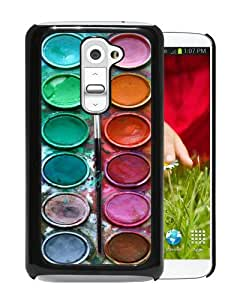 Unique And Popular LG G2 Case ,Pastel Watercolor Paint Box Set Black LG G2 Screen Cover Beautiful Designed