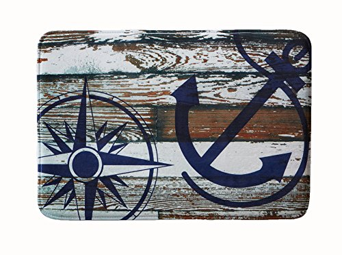 Coastal Printed Memory Foam Anti-Fatigue Bath Mat. Multi-Purpose, Non-Slip, Absorbent Laundry Room, Kitchen, Bath and Shower Rug. Eliza Collection By Great Bay Home Brand. (Anchor, 20
