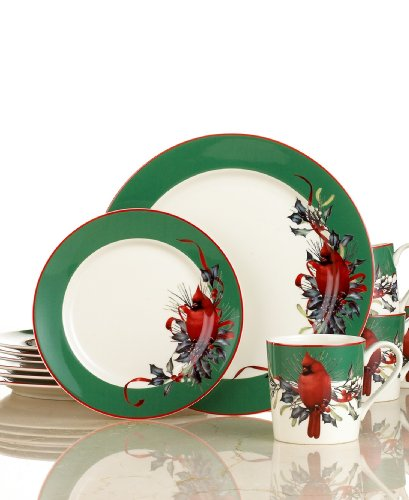 Lenox Winter Greetings Green 12 Pc Set For Sale