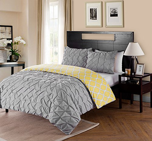 Twin XL Size Removable Duvet Cover Set Reversible in Charcoal / Yellow Pinched Pleat