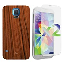 Exian S5007_SP Samsung Galaxy S5 Screen Guards x2 and TPU Case Wood Grain Pattern-Retail Packaging