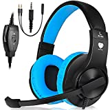 Xbox One Gaming Headset, PS4 Gaming Headphone, PC Gaming Headset with mic, Wired Over-Ear Headphones with Volume Control, 3.5mm jack for Nintendo Switch, Laptop, Mac (Blue)