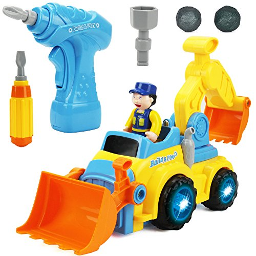 iPlay, iLearn Take Apart Construction Vehicle, Tractor, Trailer, Farm, Trucks, Drill, Excavator, Bulldozer, Lights and Music, Educational Toys for 2, 3, 4, 5, 6 Year Old Kids, Toddlers, Boys & Girls -