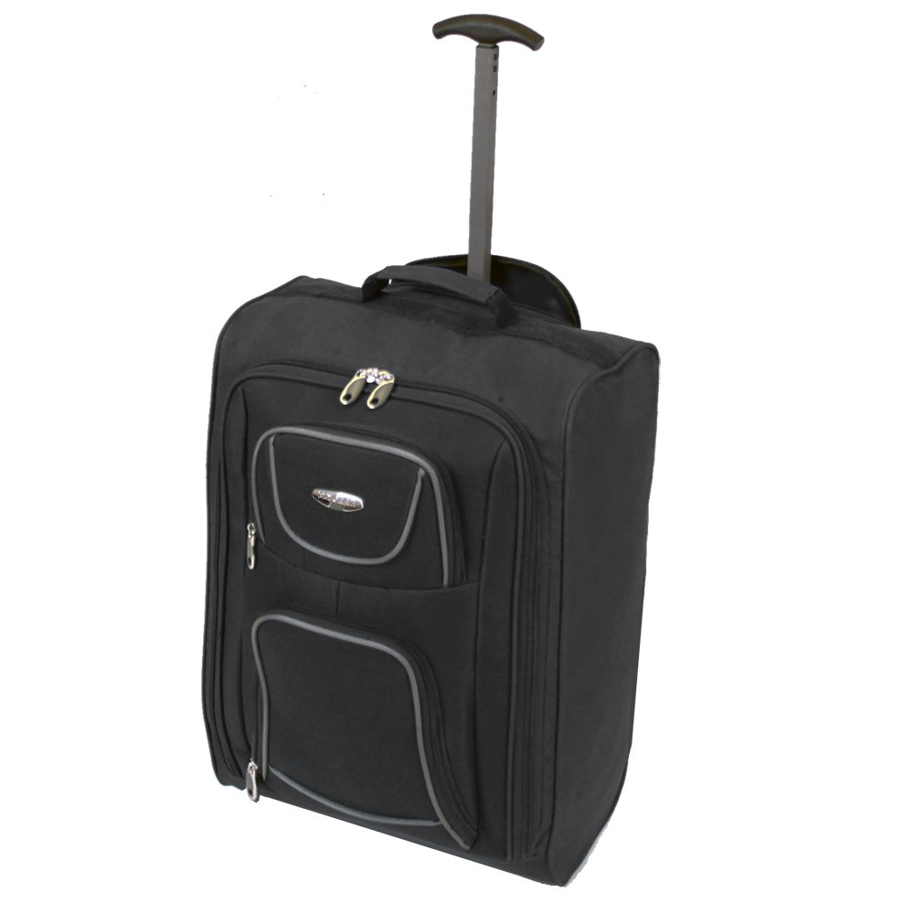 FlyGEAR Cabin Approved Lightweight Hand Luggage Travel Holdall Wheeled Suitcase Bag Fits Ryanair Easyjet And Many More - 1.4k - 40 Litres (Black)