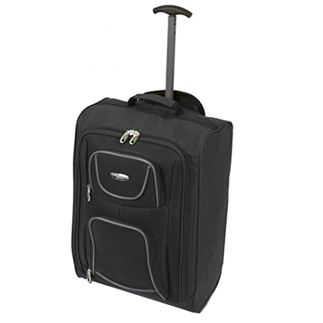 63ade25e37 FlyGEAR Cabin Approved Lightweight Hand Luggage Travel Holdall Wheeled Suitcase  Bag Fits Ryanair Easyjet And Many More - 1.4k - 40 Litres (Black)  ...