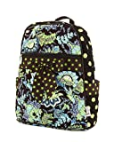 Belvah Quilted Floral Paisley Backpack Purse (Lime/Brown), Bags Central