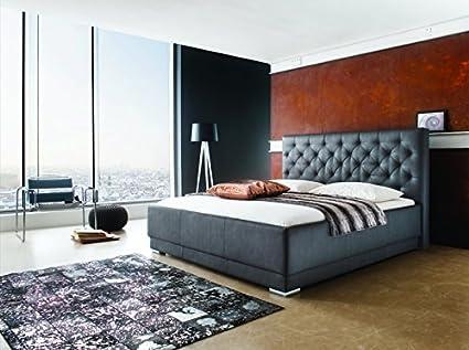 Cama con somier tapizada (160 x 200 L XXL Cabecero L Piel ...
