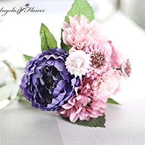 ShineBear Wedding Bride Hand Bouquet Rosemary Peony Flower Bouquet vivifying Flower Home Furnishing and Decorative Flower - (Color: B) 4