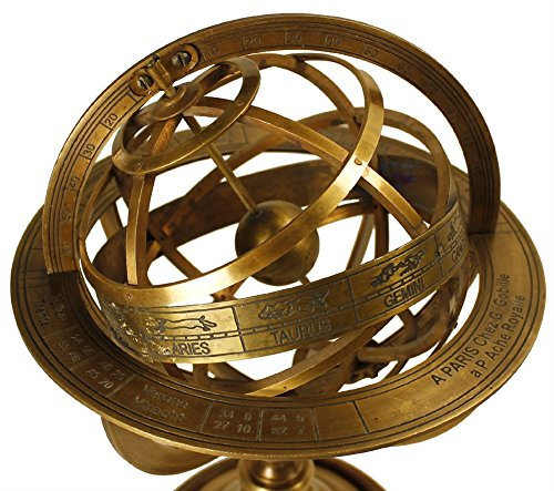 Brass Antique Finish Armillary Celestial Globe with Zodiac (Zodiac Sundial)