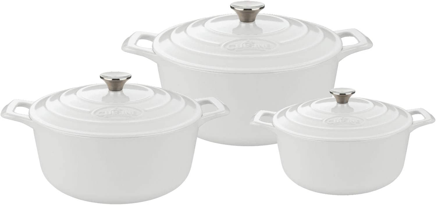 La Cuisine LC 2480 Casserole Set with Enamel Finish, White 6 Pc. Round Cast Iron, 6-piece,