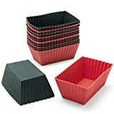 Freshware CB-308RB 12-Pack Silicone Mini Rectangle Reusable Cupcake and Muffin Baking Cup, Black and Red Colors