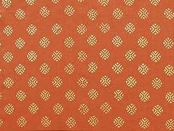 Saffron Marigold Shimmering Goldstone ~ Burnt Orange Rust Spice and Gold Valance 46x17