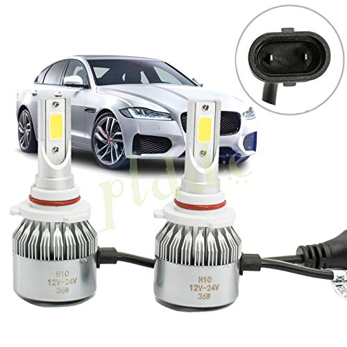 (PLDDE 2pcs H10/9040/9050/9055/9140/9145 6000K Cool White 7200LM All-in-One LED COB Bulbs Conversion Kit For Headlights Driving Fog Light DRL Lamp DC 12V/24V IP67 Driver+Passenger Replacement)
