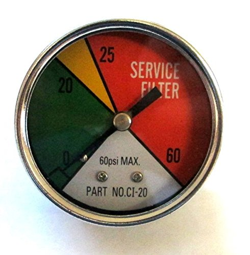 ZA CI-20 - Zinga Color Indicator Gauge 1/8'' MPT Rear Mount (Shows when filter needs to be replaced) - 60 PSI Max