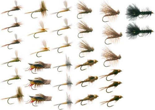 Eastern Trout Fly Fishing Flies Collection 32 Flies + Fly Box