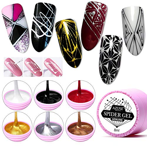 AZUREBEAUTY 6 Colors Spider Gel, Matrix Gel with Gel Paint Design Nail Art Wire Drawing Nail Gel for Line,Require LED UV Nail Dryer Lamp(White Black Red Gold Silver Champagne) (Nail Art Gel Set)