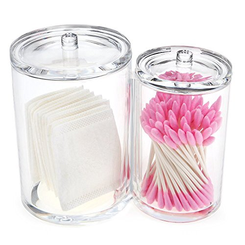 Bloss 100% Acrylic Cotton Swab Holder Cotton Ball Holder Cotton Pad Holder Makeup Brush Holder Cotton Ball and Swab Holder Cotton Round Holder-2 Compartments