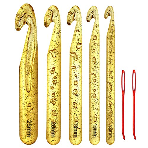 12mm-25mm Translucent Crochet Hook Set for Chunky Bulky Yarn,Rag Rugs,Shawl,Blanket Patterns Large Size Crochet Hooks Needles