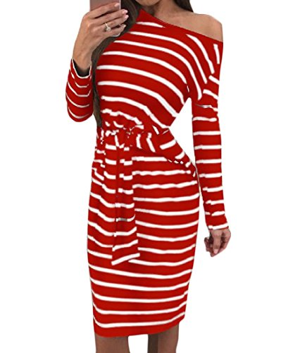 Dress Sexy Red Stripes Straps Women Sleeve Coolred Stylish Midi Party Long 1nzxSwqA