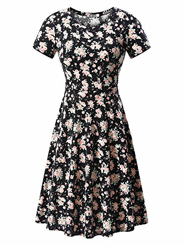 HUHOT Women Short Sleeve Round Neck Summer Casual Flared Midi Dress (Large, Floral-23)