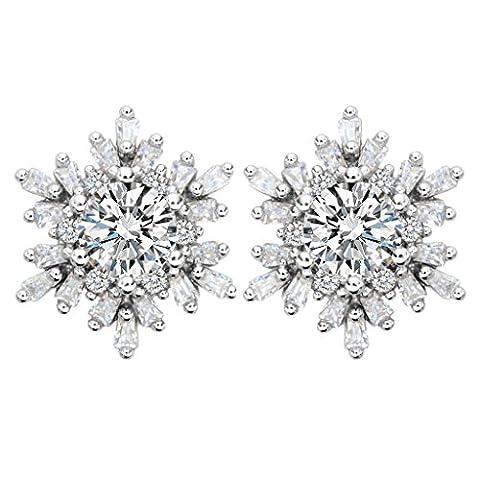 EleQueen 925 Sterling Silver Full Prong Cubic Zirconia Winter Snowflake Bridal Stud Earrings 15mm (Sterling Snowflake Earrings)