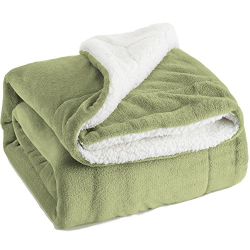 Bedsure Sherpa Throw Blanket Sage Green Twin size 60x80 Bedding Fleece Reversible Blanket for Bed and Couch