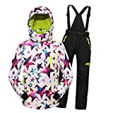 MingAo Big Girls' Thicken Warm Hooded Ski Snowsuit Jacket +Pants Two-Piece Set White 13-14 Years