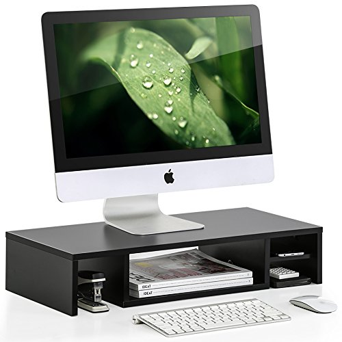FITUEYES Wooden Adjustable Monitor Riser with Storage 2 Shel
