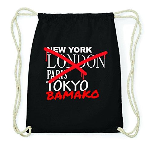 JOllify BAMAKO Hipster Turnbeutel Tasche Rucksack aus Baumwolle - Farbe: schwarz Design: Grafitti V5LG3