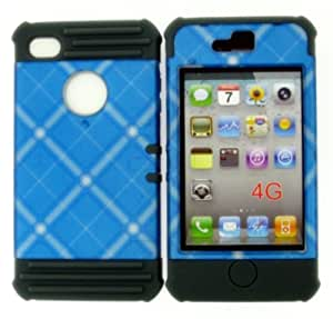 CellTx Apollo Case For Apple (iPhone 4, 4S, 4G) Case Cover Gray Rubber Skin and (Blue, Plaid) AT&T, T-Mobile, Sprint, Verizon, Cricket, Virgin Mobile, Boost Mobile by mcsharks