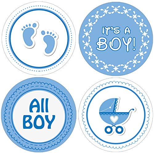 It's a Boy Baby Shower Favor Stickers | Blue Footprint Theme | 1.75