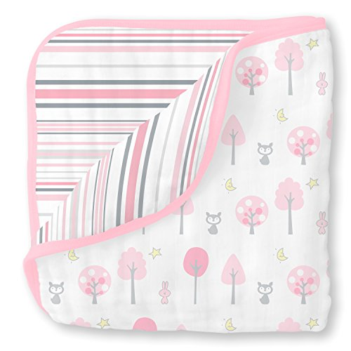 SwaddleDesigns 4-Layer Muslin Luxe Blanket, Cuddle and Dream, Pink Thicket and Stripes (Stripe Luxe Pink)