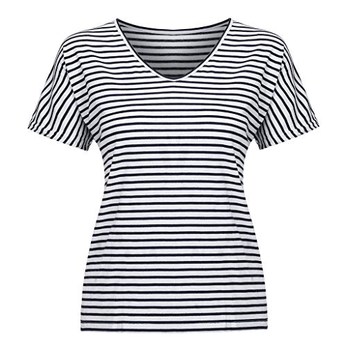 Mysky Fashion Women Summer Leisure Batwing Striped Print Half Sleeve Plus Size Tee Shirt Tops Blouse