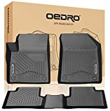 oEdRo Floor Mats Compatible for 2015-2019 Jeep Cherokee (Not for Grand Cherokee), Black TPE All-Weather Guard 1st and 2nd Row Liners