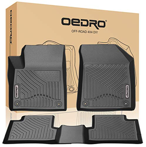 oEdRo Floor Mats Compatible for 2016-2019 Jeep Cherokee, Unique Black TPE All-Weather Guard Includes 1st and 2nd Row: Front, Rear, Full Set Liners (Not for Grand Cherokee) ()