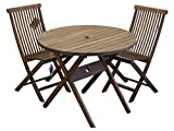 Timbo Mestra Hardwood Outdoor Patio Bistro Set with Round Table and 2 Folding Chairs, Bistro Set, Brown