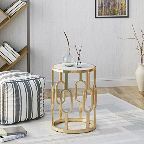 Stone Furniture Faux (Madison Indoor Glam 16 Inch White Finish Faux Stone Side Table)
