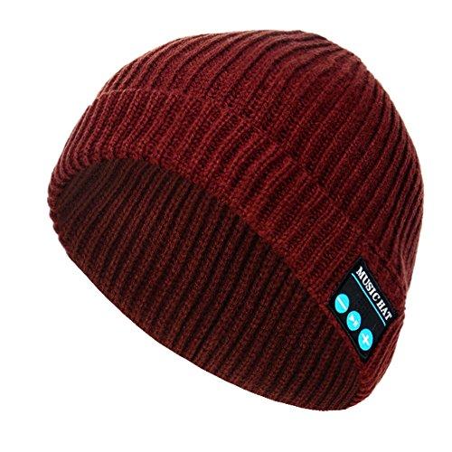 (V4.2 Handsfree Unisex Wireless Bluetooth Beanie Hat Musical Knit Headphone Speaker Hats Speakerphone Cap Built-in Mic for Outdoor Sports Skiing Walking Running Skating)
