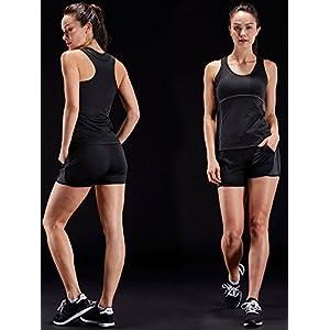 Neleus Women's 3 Pack Dry Fit Compression Shirt,3 Pack:Black,Grey,White,US L,EU XL