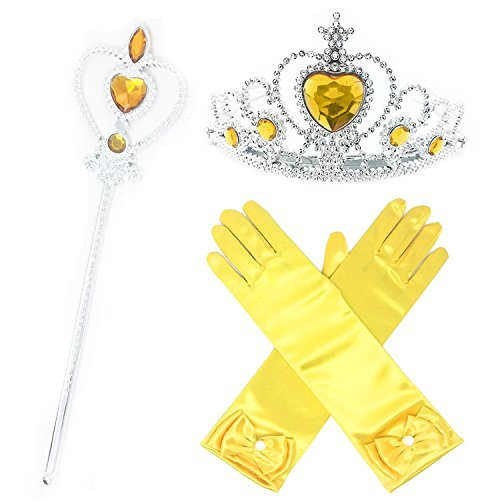 L-Peach Girls Princess Shimmering Yellow Dress Up Party 3 Piece Gift Set Accessories Gloves Tiara Wand