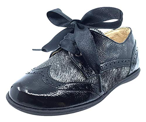 Andanines Kid's Ribbon Tie Oxford (Black Patent/Black Poni, 31 M EU/13 M US Little Kid) by Andanines