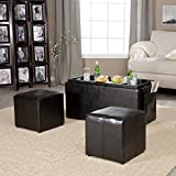 Storage Coffee Table Ottoman Serving Tray Nesting Table Top plus Side Ottomans with storage and Side Pocket plus FREE GIFTS Review