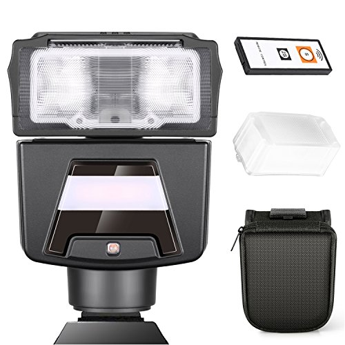 Neewer TTL GN42 HSS 1/8000 Seconds Flash Speedlite with LED Light Kit for Sony A7 A7S A7SII A7R A7RII A7II A6000 A6300 A6500 Cameras, Includes: (1)N40S Flash, (1)IR Remote Control, (1)Hard Diffuser