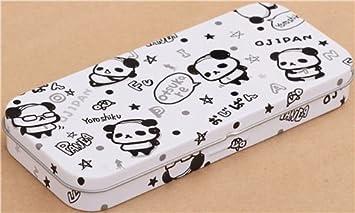 Caja de lata estuche lápices gracioso oso panda Ojipan blanco ...