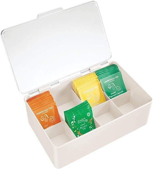 mDesign Organizador de cocina – Práctica caja de té con tapa para cocina y despensa – Caja de almacenaje con ocho compartimentos para té, café o especias – crema/transparente: Amazon.es: Hogar