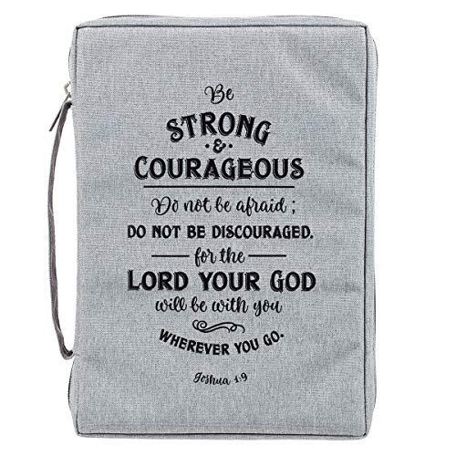 Strong and Courageous Poly-Canvas Bible Cover - Large