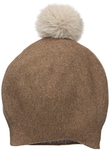 La Fiorentina Women's Cashmere Blend Slouchy Beanie With Fur Pom, Taupe/Natural Pom, One Size by La Fiorentina
