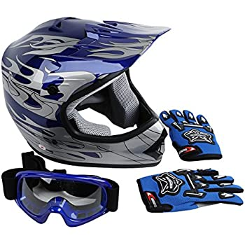 XFMT Youth Kids Motocross Offroad Street Dirt Bike Helmet Goggles Gloves Atv Mx Helmet Blue Flame L
